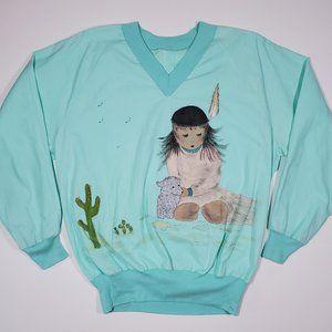 Vintage 80's Homemade Sweatshirt Hand Painted M